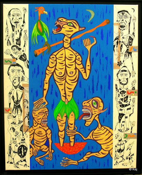 13 La tigresse. 2011. 100x81 cm. Huile et encre de chine sur to