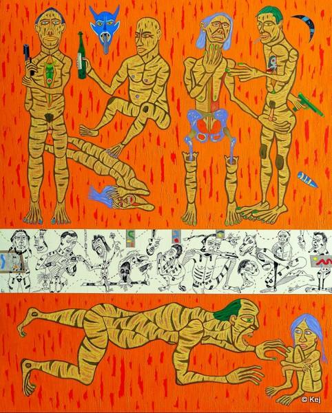 Domination masculine. 2012. Huile et encre de chine sur toile. 162x130 cm.