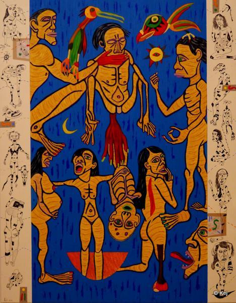 Drôle de cirque. 2012. Huile et encre de chine sur toile. 165x130 cm